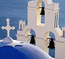Blue Church Dome and Belfry, Santorini (Greece)  by Petr Svarc
