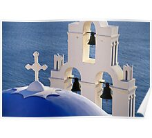Blue Church Dome and Belfry, Santorini (Greece)  Poster