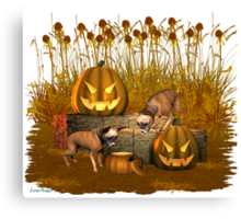 October Puppy .. a halloween tale Canvas Print