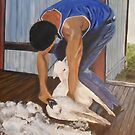 Shearing at Bookham, NSW by Estelle O'Brien