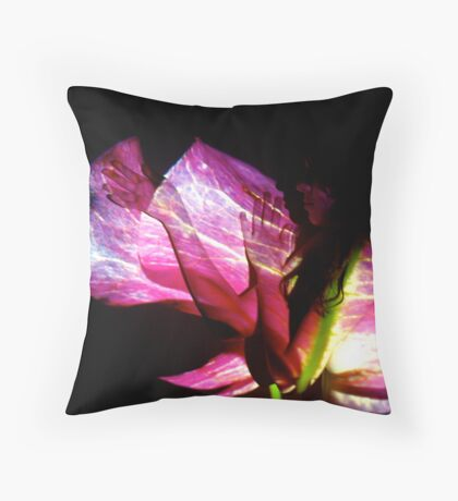 The bogonvilia girl's pink veins were the same that ran through the flower. Throw Pillow