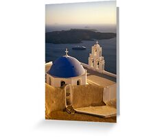 Greek Church with Cruise Ship at Sea, Santorini (Greece) Greeting Card