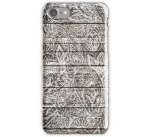 Boho white floral paisley rustic brown stripe wood  iPhone Case/Skin