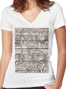 Boho white floral paisley rustic brown stripe wood  Women's Fitted V-Neck T-Shirt