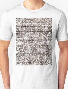 Boho white floral paisley rustic brown stripe wood  Unisex T-Shirt