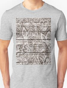 Boho white floral paisley rustic brown stripe wood  Unisex T-Shirt