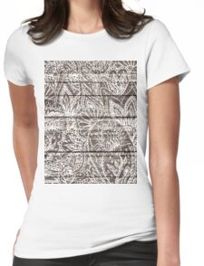 Boho white floral paisley rustic brown stripe wood  Womens Fitted T-Shirt