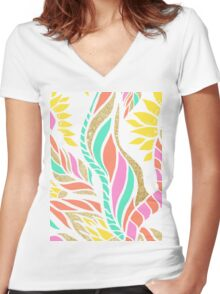 Summer bright modern coral gold turquoise floral  Women's Fitted V-Neck T-Shirt