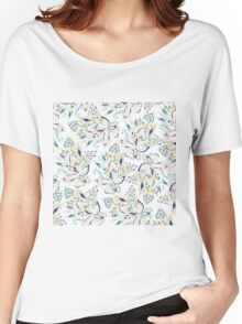 Modern pastel pink watercolor gold floral paisley Women's Relaxed Fit T-Shirt