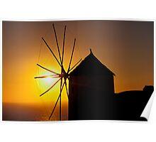 Windmill at Sunset, Santorini (Greece)  Poster