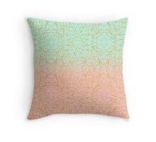 Pink Mint Green Ombre Gold Glitter Geometric  Throw Pillow