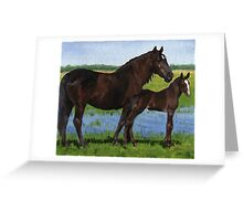 Percheron Mare and Foal Portrait Greeting Card