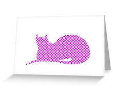 Spotty Dotty Pink Cat Greeting Card