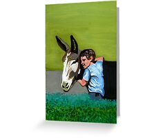 Mule and Little Boy Portrait Greeting Card