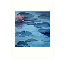 Water Lily in Moonlight Art Print