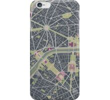 Paris city map engraving iPhone Case/Skin