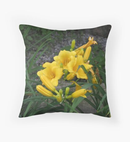 Yellow Day Lilies Throw Pillow