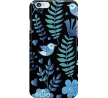Vintage floral pattern on a black background iPhone Case/Skin