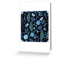 Vintage floral pattern on a black background Greeting Card