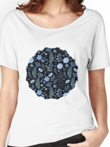 Vintage floral pattern on a black background Women's Relaxed Fit T-Shirt