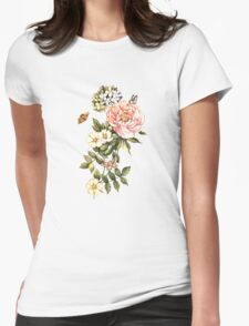 Watercolor vintage floral motifs Womens Fitted T-Shirt
