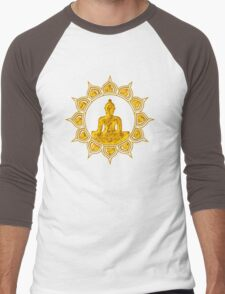 Buddha Meditation, Lotus Flower, Anahata, Heart Chakra Men's Baseball ¾ T-Shirt