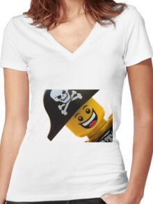 Happy Lego Pirate Women's Fitted V-Neck T-Shirt