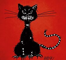 Red Ragged Evil Black Cat by Boriana Giormova