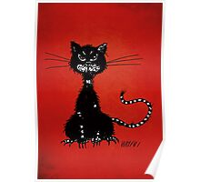 Red Ragged Evil Black Cat Poster