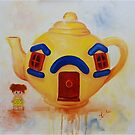 Big Yellow Teapot- vintage painting by Deborah Cauchi