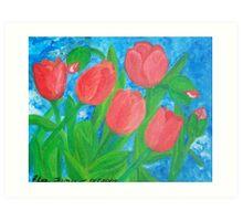 Five red tulips Art Print