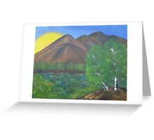 Mountain field at the sunset Greeting Card