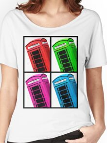 British Phone box 4 up multicoloured Women's Relaxed Fit T-Shirt