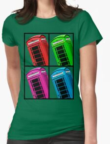 British Phone box 4 up multicoloured Womens Fitted T-Shirt