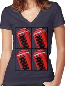 Red British Phone box 4 up Women's Fitted V-Neck T-Shirt