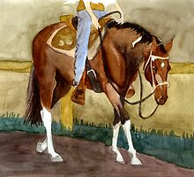 Beginning Lessons Paint Western Pleasure Horse Portrait by Oldetimemercan