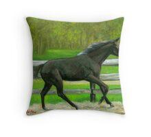 Beauty In Motion Quarter Horse Portrait Throw Pillow
