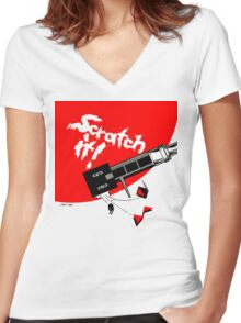 Scratch it! Women's Fitted V-Neck T-Shirt