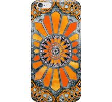 Celebrating the 70's - tangerine orange watercolor on grey iPhone Case/Skin