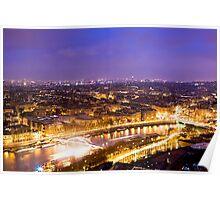 River of Light - Parisian Seine at Night Poster