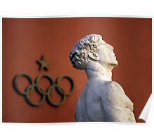 Athlete Statue and Olympic Rings, Foro Italico, Rome Poster