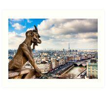 Gargoyle Over the Paris Skyline Art Print