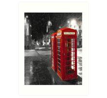 Edinburgh On The Phone - Classic Red British Phone Box Art Print