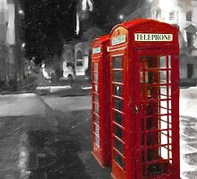 Edinburgh On The Phone - Classic Red British Phone Box by Mark Tisdale