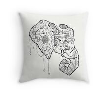 Painted Elephant Throw Pillow
