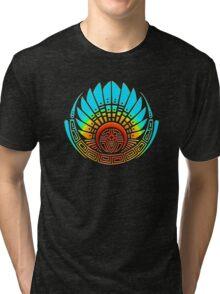 Mayan mask, crop circle, Quetzalcoatl Tri-blend T-Shirt