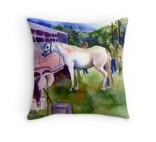 Before The Class Arabian Horse Portrait Throw Pillow