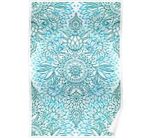 Turquoise Blue, Teal & White Protea Doodle Pattern Poster