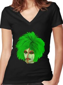 Halloween for fun--Witch green wig  Women's Fitted V-Neck T-Shirt