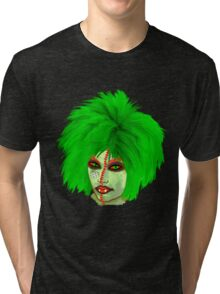 Halloween for fun--Witch green wig  Tri-blend T-Shirt